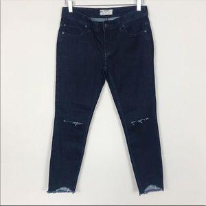 Free People Raw Frayed Hem Distressed Skinny Jeans